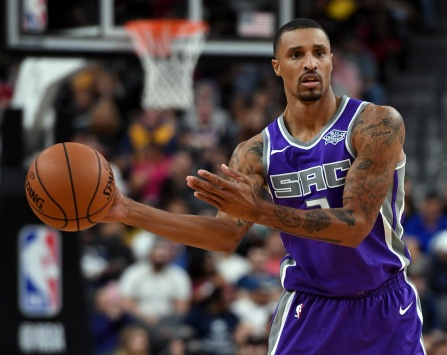 LAS VEGAS, NV - OCTOBER 08: George Hill #3 of the Sacramento Kings looks to pass against the Los Angeles Lakers during their preseason game at T-Mobile Arena on October 8, 2017 in Las Vegas, Nevada. Los Angeles won 75-69. NOTE TO USER: User expressly acknowledges and agrees that, by downloading and or using this photograph, User is consenting to the terms and conditions of the Getty Images License Agreement. (Photo by Ethan Miller/Getty Images)